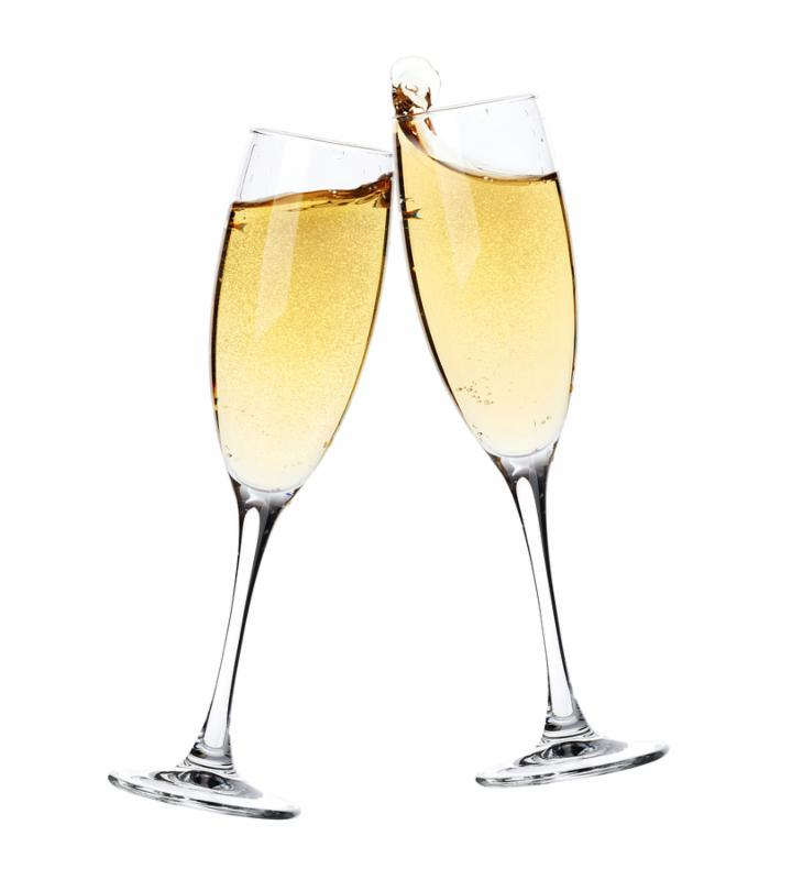 Cheers  Two champagne glasses. Isolated on white background