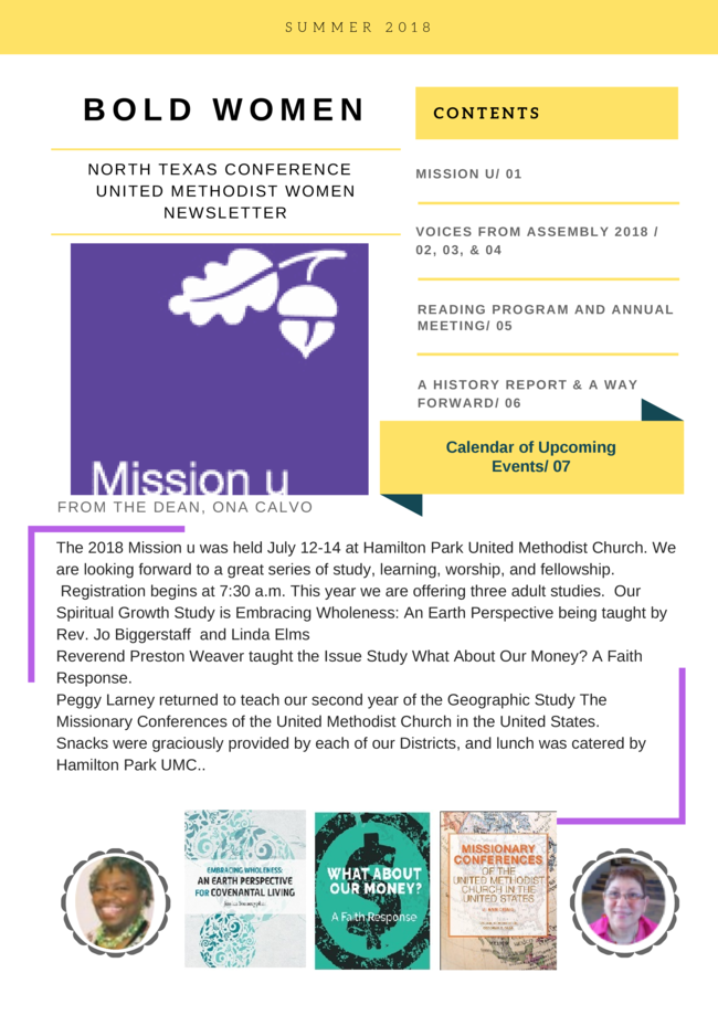 NTC UMW Summer 2018 Newsletter