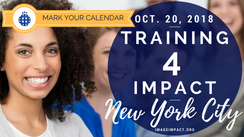 Mark Your Calendar Graphic for Training 4 Impact Oct. 20 2018 at Microsoft flagship on 5th Avenue. Created by CIndy Ann on Canva