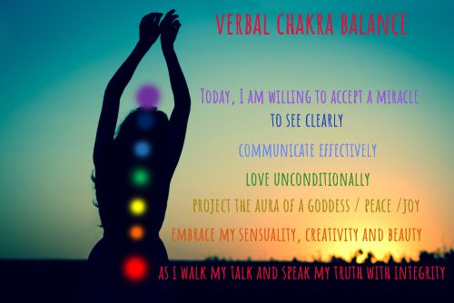 Seven chakras. Silhouette of a woman against a turquoise sky. Sunset or dawn. The concept of harmony and mental health