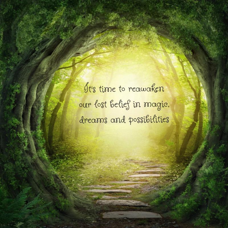 Road in magic dark forest
