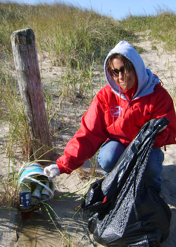 Tammy picking up trash