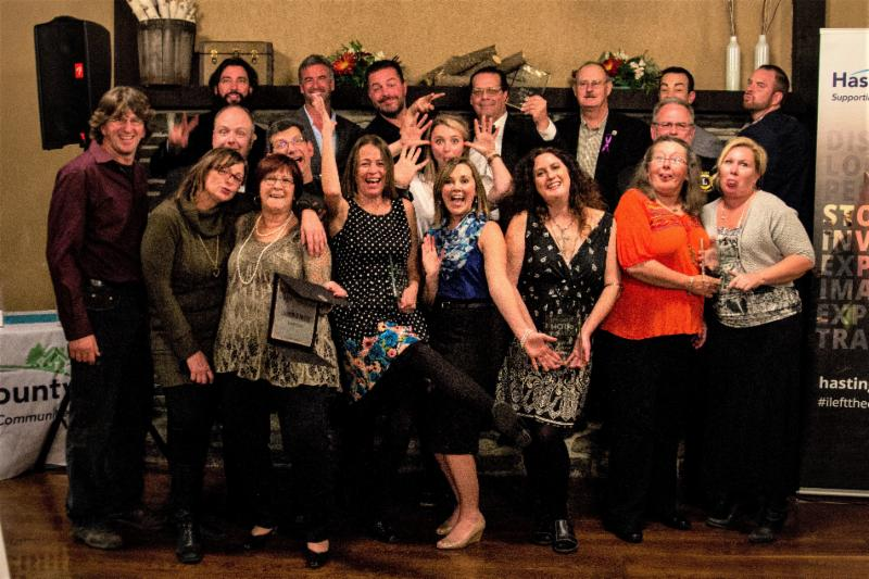A group shot of all the recipients for the 2016 Tourism Awards at the Tourism Awards Celebration held at The River Inn in Corbyville on October 21, 2016