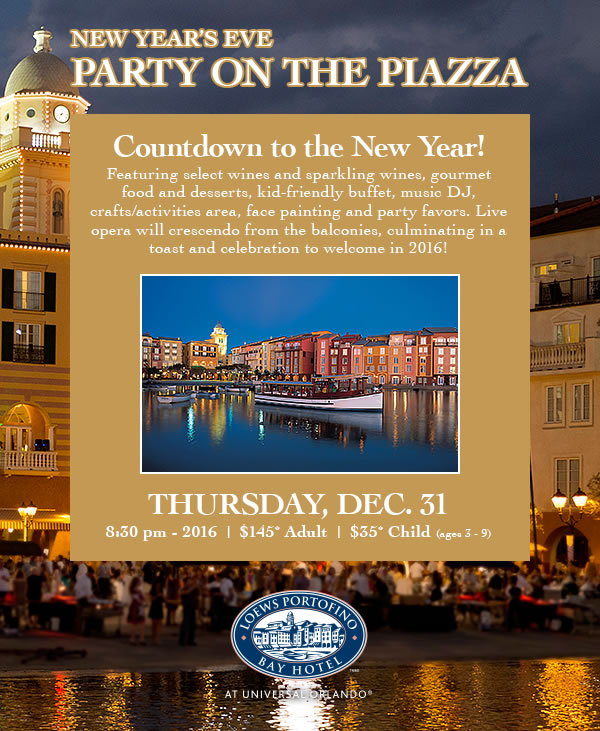 New Year's Eve Party on the Piazza at Loews Portofino Bay Hotel