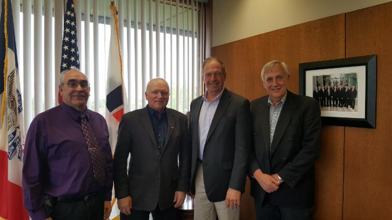 From left to right: Iowa Farm Bureau President Craig Hill, CFA President Ron Bonnett, IFB Research and Commodity Director Davil Miller and CFA Executive Director Errol Halkai meet to discuss NAFTA's cross border benefits.