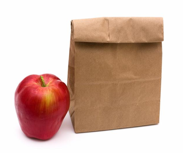 Brown Paper Bag Lunch isolated on a white background healthy lunch