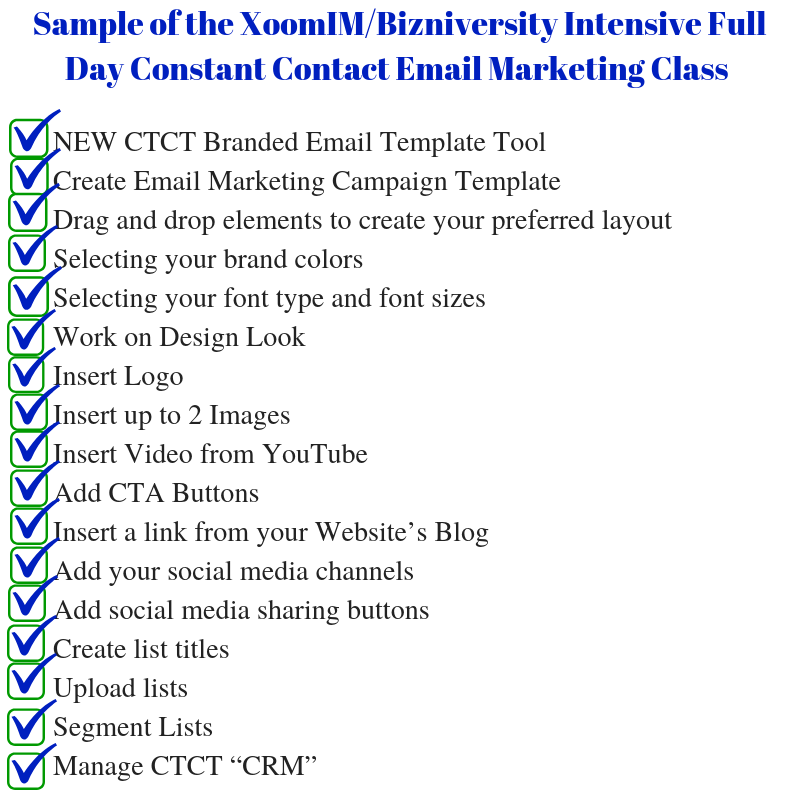 XoomIM-Bizniversity Intensive Full Day Constant Contact Boot Camp