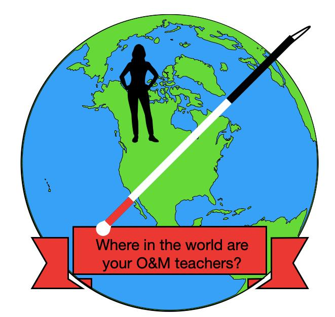 cartoon world with silhouette of person with a white cane across the world