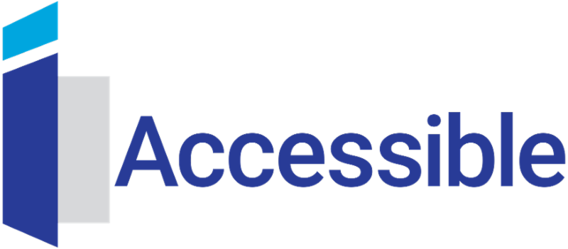 A blue and grey logo of iAccessible