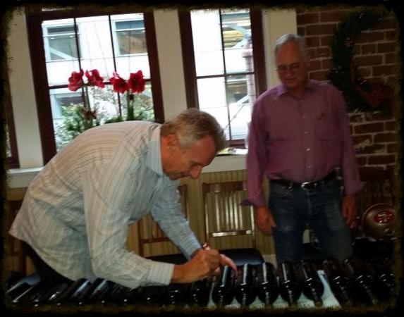 Scott and Joe Signing Bottles