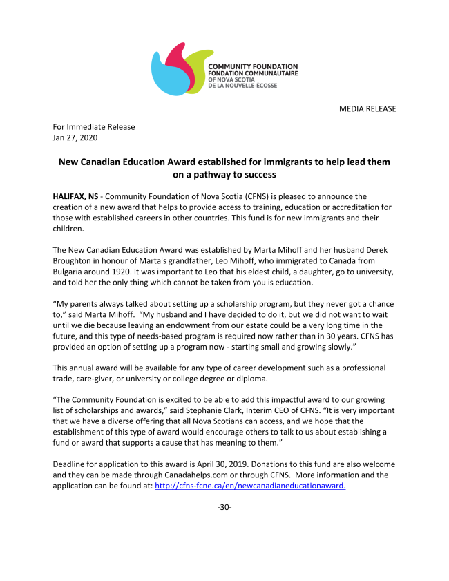 New Canadian Education Award MEDIA RELEASE