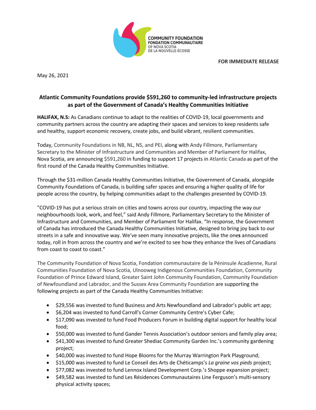 Results of Round 1 Canada Healthy Communities Initiative