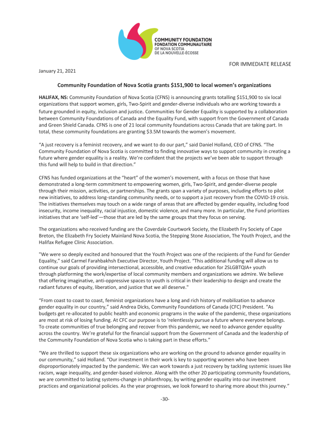 Press release about the recipients of the Fund for Gender Equality