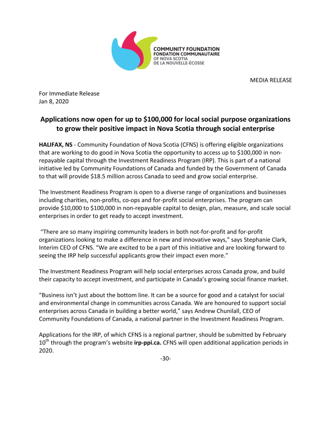 Investment Readiness Program Launch MEDIA RELEASE