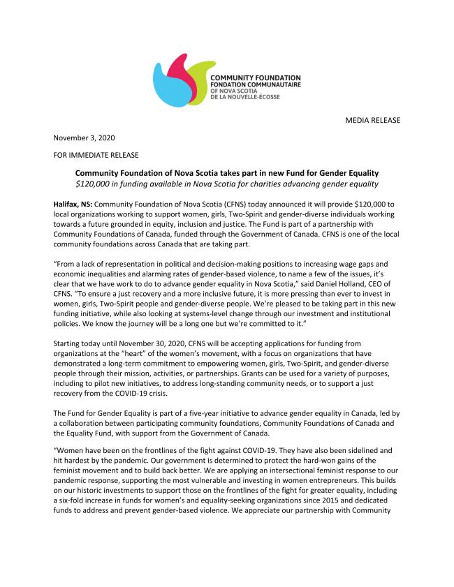 Community Foundation of Nova Scotia announces new Fund for Gender Equality
