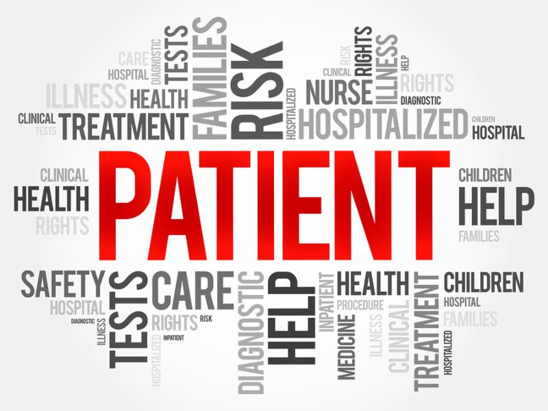 Patient word cloud collage health concept background