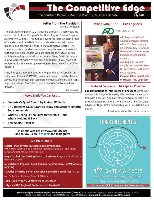 SRMSDC's July 2018 Newsletter - The Competitive Edge!