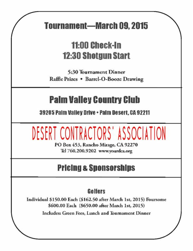 DCA Golf Tournament Details