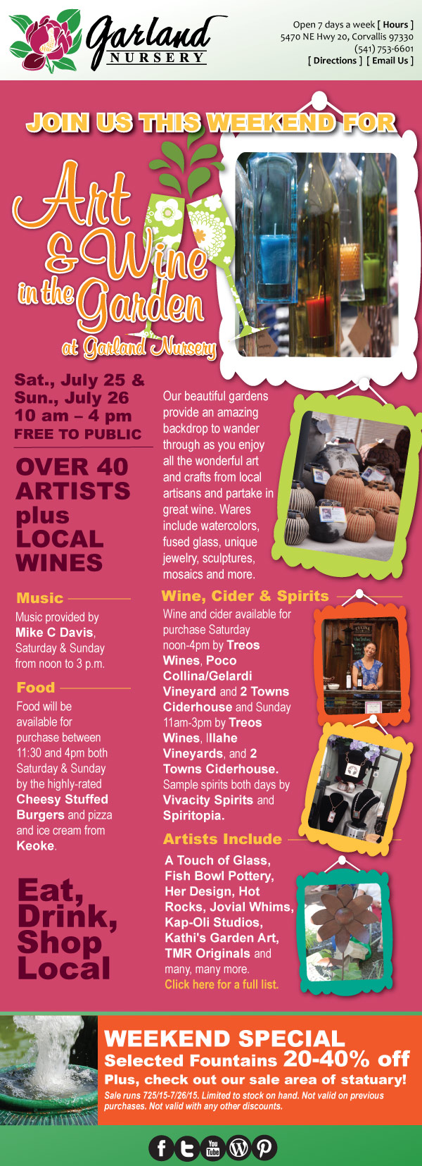 Art and Wine in the Garden plus Weekend Special