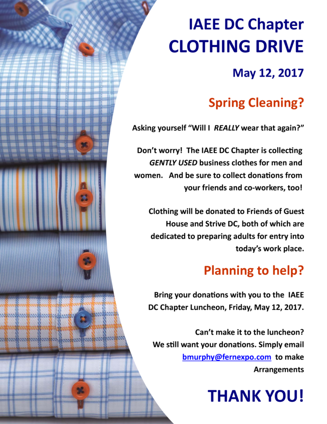 Clothing Drive During May Luncheon