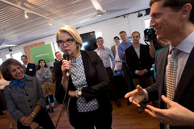 UNC System President Margaret Spellings lays down a beat with Dr. Mark Katz. Katz is UNC's director for the Institute for the Arts and Humanities and cofounder of Next Level, a program that fosters cultural diplomacy through music. Photo courtesy of the University Gazette