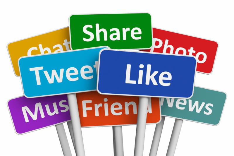 Social media and networking concept  group of color signs with social media services isolated on white background