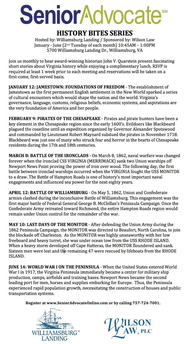 History Bites Series at Williamsburg Landing