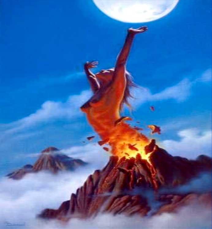 woman volcano