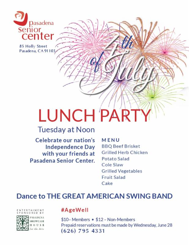 All the Details for Independence Day at the Pasadena Senior Center