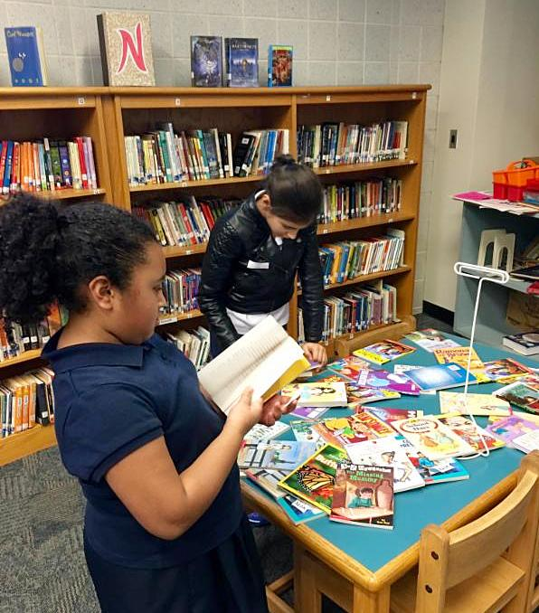 Patrick Henry girl, book table