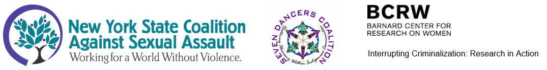 New York State Coalition Against Sexual Assault logo followed by Seven Dancers Coalition logo and Interrupting Criminalization - Research in Action logo