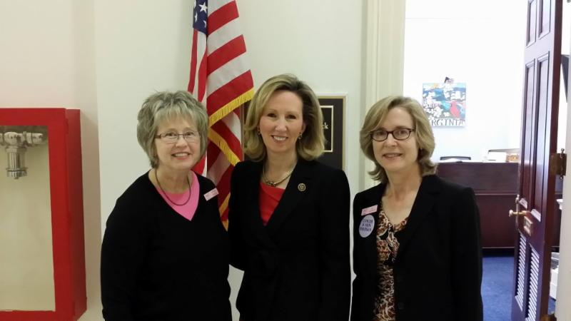 VBCF Board members and breast cancer advocates Debbie Hayes (left) and Lisa DeFerrari (right) visit with Congresswoman Barbara Comstock to discuss funding for Department of Defense (DOD) breast cancer research.