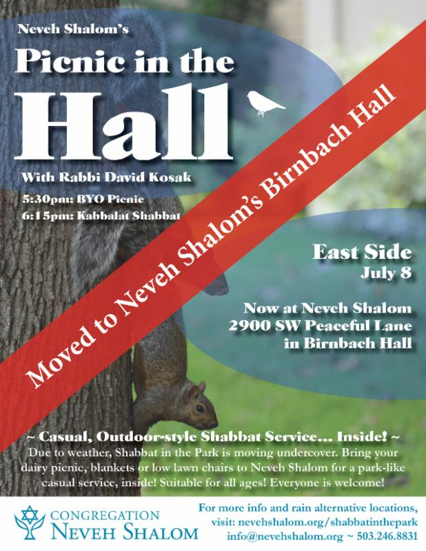 Shabbat in the Park is now... Picnic in the Hall! @ Birnbach Hall at Neveh Shalom