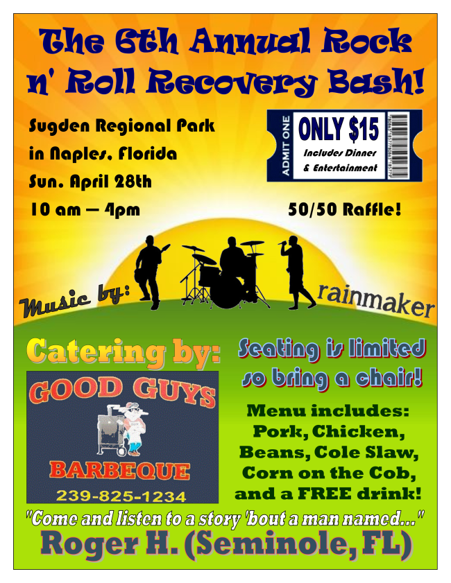 Rock n Roll Recovery Bash Flyer