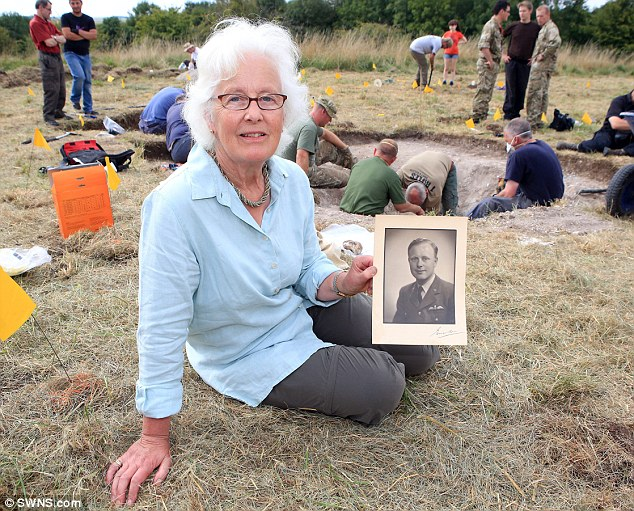 Rosemary Baillon at the Spitfire dig site in Wilts.