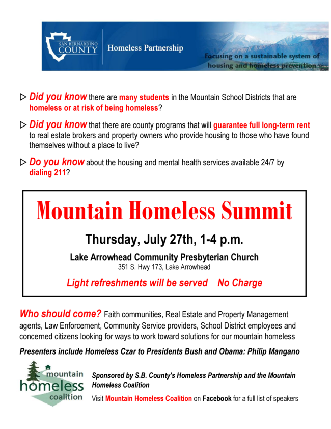 Outreach Committee: Homeless Summit July 27th!