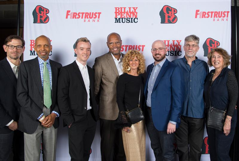 Winners of the 2018 Set in Philadelphia Screenwriting Competition with GPFOs Sharon Pinkenson_ Joan Bressler_ Brian Wade_ and 17 Bridges Producer Malcolm Gray at GPFO Production Party