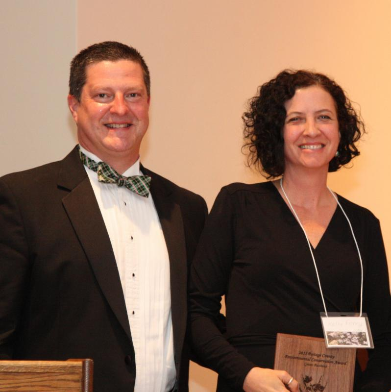 Green Business Awardee-Kelly Ferry, pictured with Master of Ceremonies Kurt Ruehr