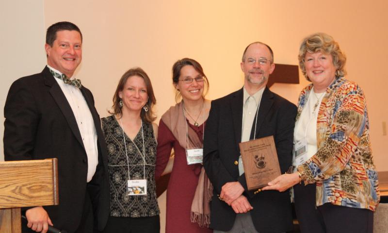 Environmental Education Awardees-Hiram College TREE House-Debbie Kasper, Sarah Mabey & Michael Benedict (also pictured-PPD Foundation Members Kurt Ruehr & Jane Rose