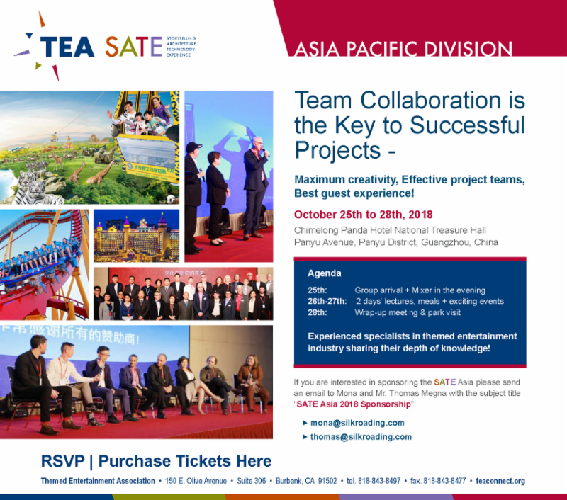 SATE IN GUANGZHOU - Preview from the Co-Chairs of TEA SATE Asia - Chimelong, 26-28 October 2018