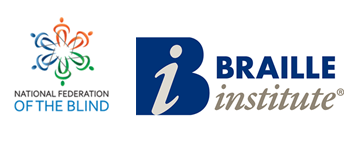 National Federation of the Blind and Braille Institute logos
