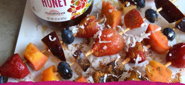 Grilled Honey Coconut Fruit Kabobs