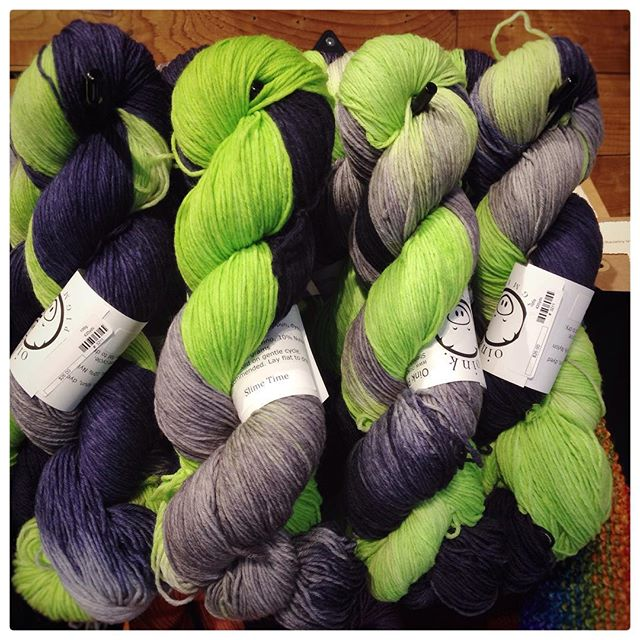 It's back! @oinkpigments Sock & Worsted in Slime Time--perfect for #Seahawks knitting! $23 for the Worsted, $26 for the Sock. #yarnfolk #yarn