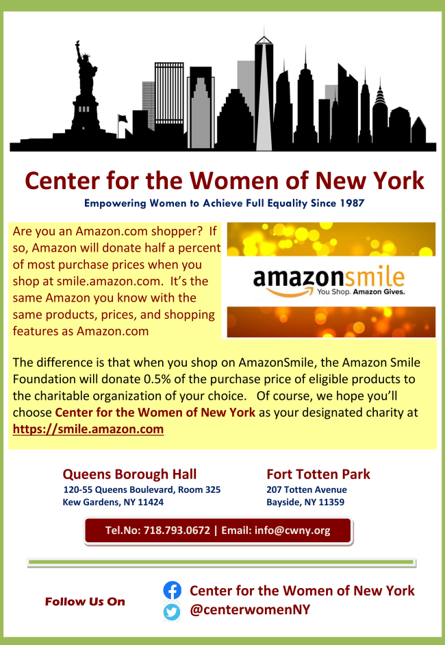 Amazon will donate to CWNY half a percent of most purchases when you shop at smile.amazon.com