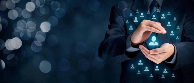 Customer service and care patron protection customer personalization individual customer care for employees CRM social customer service customer retention customer relationship marketing niche segmentation concepts. Wide composition, bokeh background.