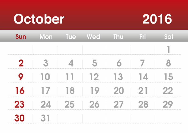 Calendar 2016. Planning calendar for October 2016.