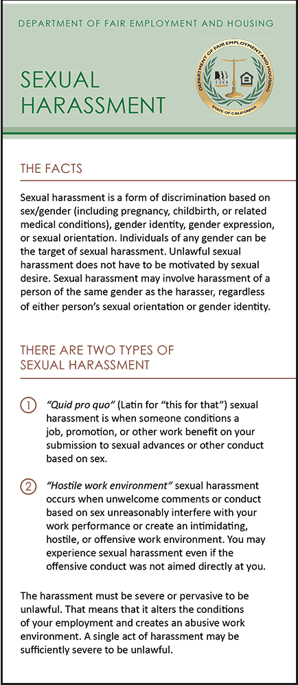 California Sexual Harassment Pamphlet