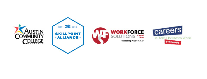 Sponsor logos_ Austin Community College_ Skillpoint Alliance_ Workforce Solutions Capital Area and Careers in Texas Industries Week