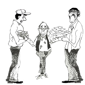 A cartoon image of a man handing money to other men.