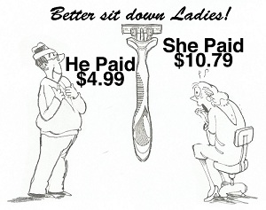 Better sit down ladies! He paid $4.99 for a razor and she paid $10.79.
